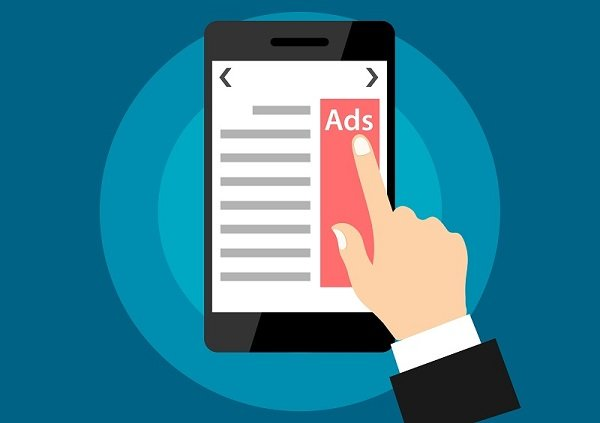 clickjacking - finger clicking on a mobile ad that leads to attackers website